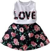 Little Spring LittleSpring Little Girls' Skirt Set Flower Love Size 7