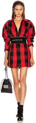 Alexander Wang Plaid Shirt Dress in Black & Red | FWRD
