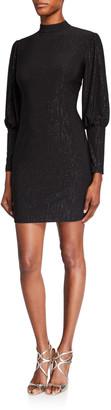 Aidan Mattox Metallic Jersey High-Neck Puff-Sleeve Cocktail Dress