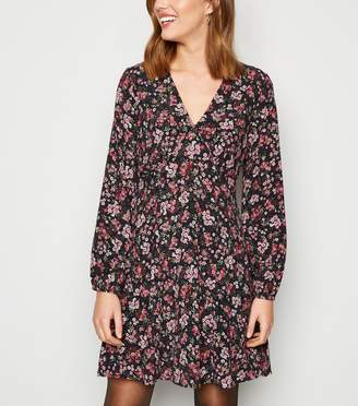 New Look Floral Long Sleeve Empire Mini Dress