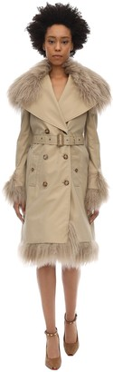 Burberry Double Breasted Canvas Coat W/fur