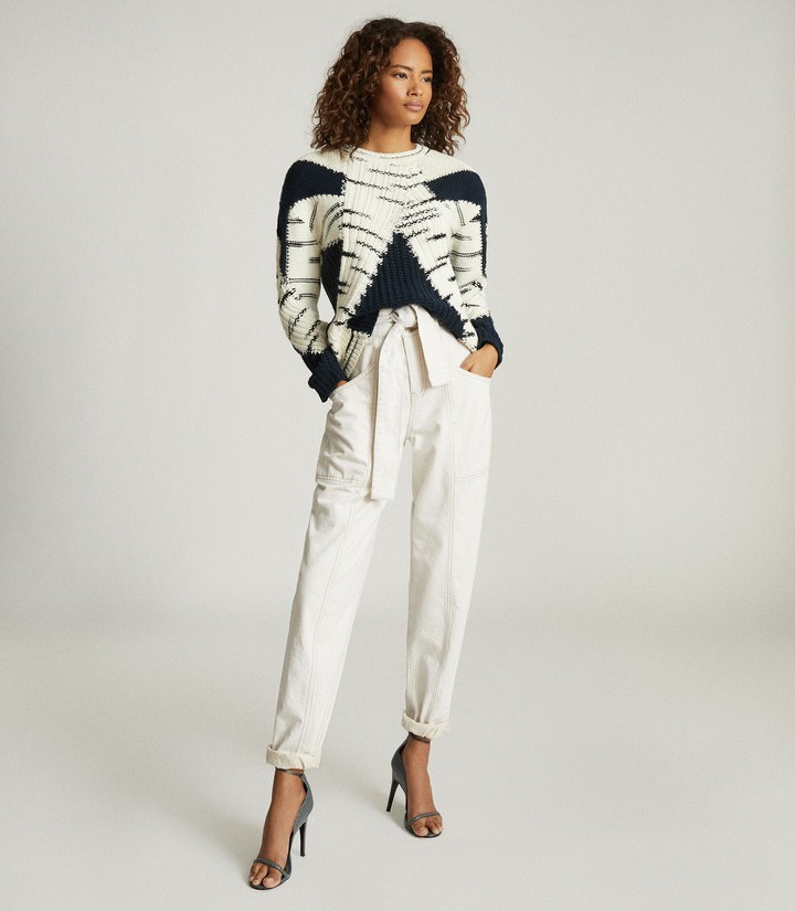 Reiss Tiffany - Colour Block Knitted Jumper in Navy