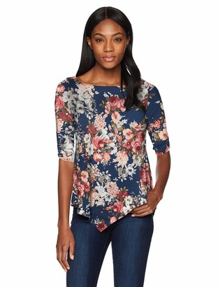 Star Vixen Women's Elbow-Cinch Sleeve Hanky Hem Top