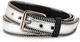 Giuseppe Zanotti Men's Zip-Trim Metallic Leather Belt