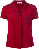 RED Valentino piped shortsleeved shirt - women - Silk/Polyester - 40