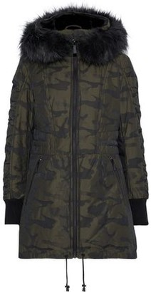 DKNY Faux Fur-trimmed Printed Shell Down Hooded Coat