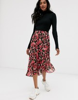 Stradivarius asymmetric skirt with frill in floral print