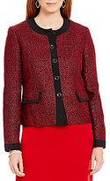 Kasper Long-Sleeve Tweed Button-Front Jacket