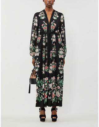 Giambattista Valli Floral-print V-neck silk gown
