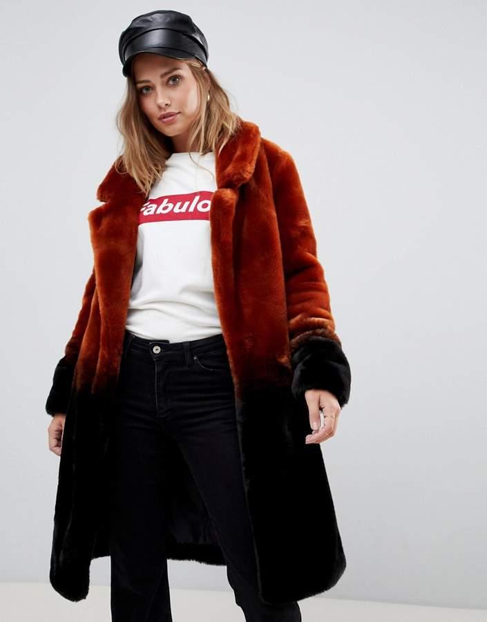 Urban Code Urbancode longline coat in ombre faux fur