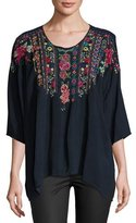 Johnny Was Sima 3/4-Dolman-Sleeve Embroidered Blouse, Navy Shadow, Plus Size