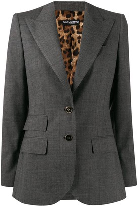 Dolce & Gabbana Single Breasted Leopard Print Lining Blazer