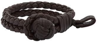 Bottega Veneta Black Braided Leather Bracelet