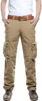 Qiuse Men's Classic Military Straight-Legs Multi Pockets Cargo Pants