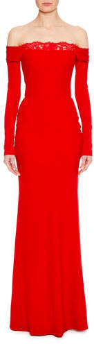 Alexander McQueen Off-the-Shoulder Long-Sleeve Column Evening Gown with Lace Inset