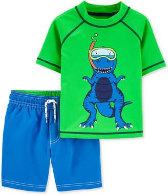 Carter's Carter Baby Boys 2-Pc. Upf 50+ Color-Changing Dino Rash Guard & Board Shorts Set