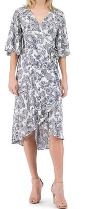 B Collection By Bobeau Orna Paisley Print Wrap Dress