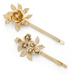 Rosantica Lirica Crystal-embellished Floral Hair Clips - Gold