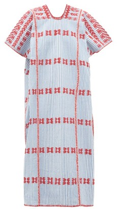 Pippa No.169 Striped Embroidered Cotton Kaftan - Blue Multi