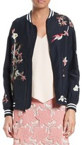 Alice + Olivia Women's Lila Embroidered Silk Bomber Jacket
