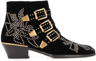Chloé Buckle Studded Ankle Boots