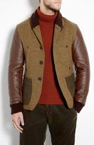 Customellow Mixed Tweed Leather Sleeve Jacket