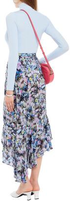 Preen Line Daria Asymmetric Floral-print Crepe De Chine Midi Wrap Skirt