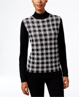 Karen Scott Plaid Mock-Neck Sweater, Only at Macy's