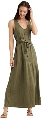 Lucky Brand Sleeveless Crew Neck Eliza Belted Maxi Dress (Burnt Olive) Women's Clothing