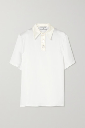 ROWEN ROSE Oversized Silk Satin-trimmed Crepe Polo Shirt - White