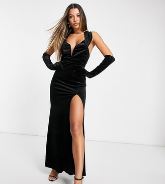 Jaded Rose exclusive velvet maxi dress with cowl back and gloves in black