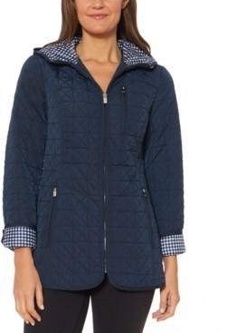 Jones New York Petite Water-Resistant Hooded Quilted Jacket