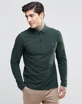 Farah Polo Shirt With Long Sleeves In Slim Fit Green