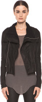 Rick Owens Classic Smooth Leather Biker Jacket in Black