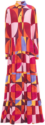Stella Jean Tiered Printed Crepe De Chine Maxi Shirt Dress