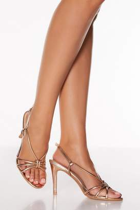 Quiz Rose Gold Knot Detail Strappy Heeled Sandals