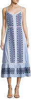 Veronica Beard Joni Sleeveless Embroidered Midi Shirtdress, Blue/White