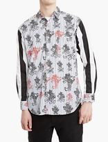 Comme Des Garcons Shirt White Cartoon Print Contrast-material Shirt