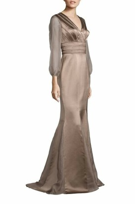 Kay Unger New York Sheer Sleeve Satin Mermaid Gown