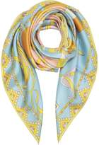 Emilio Pucci Light Blue Floral Print Twill Silk Square Scarf