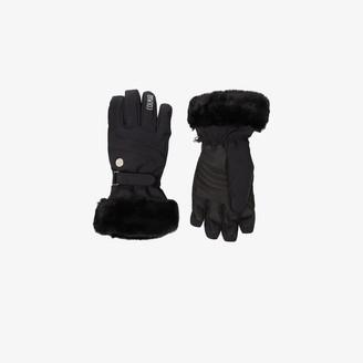 Colmar Black waterproof faux fur ski gloves