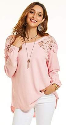 SONJA BETRO Women's Lace Yoke Thermal Long Sleeve Casual Shirt Tunic Tops//