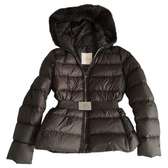 Moncler Hood Brown Beaver Coat for Women