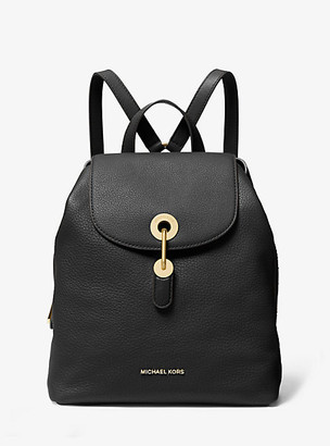 MICHAEL Michael Kors MK Raven Medium Pebbled Leather Backpack - Black - Michael Kors