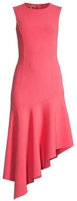 Michael Kors Stretch Wool Crepe Asymmetric-Hem Dress