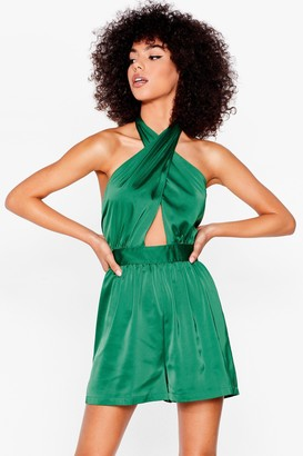 Nasty Gal Womens Cut-Out in the Open Satin Halter Romper - Green