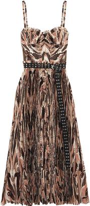 Alexander McQueen Belted Printed Plisse Silk Crepe De Chine Midi Dress