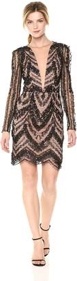 Dress the Population Women's Jamie Long Sleeve Plunging Floral Lace Mini Dress Black/Nude S
