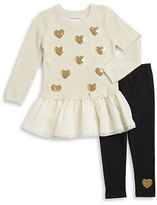 Flapdoodles Girls 2-6x Peplum Heart Top and Leggings Set