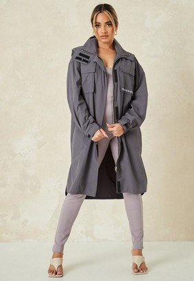 Missguided Gray Co Ord Lightweight Trench Coat